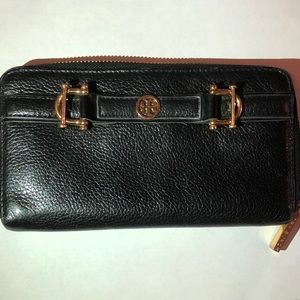 Tory Burch black leather wallet with buckles